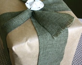 Gift Wrap - Craft Paper with Burlap Ribbon and Porcelain Package Tie and Greeting Card