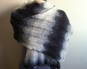 Womens Lace Shawl Scarf, Shrug, Caplet, Hand Knitted Snow White/Gray Lacy SHAWL/STOLE, Usa Seller