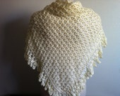 Wedding Triangular Stole Shawl Scarf in Off White, Caplet, Shrug, Crochet Wedding Shawl, Wrap