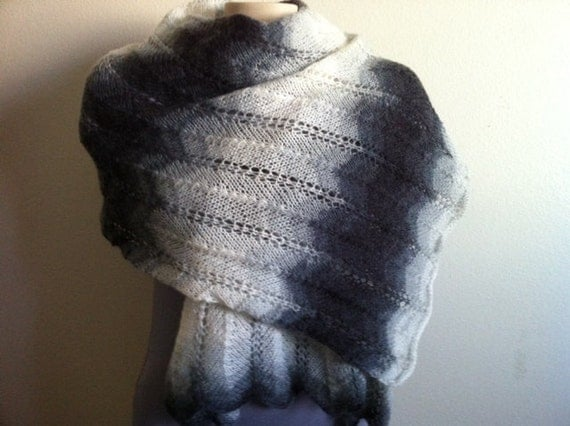 Womens Lace Shawl Scarf, Shrug, Caplet, Mother Day Gift, Hand Knitted Snow White/Gray Lacy SHAWL/STOLE, Usa Seller