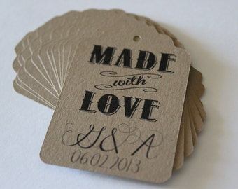 Wedding Favor Tags Kraft Brown Rectangle Set of 100 with Single Sided Custom Printing - Made with Love