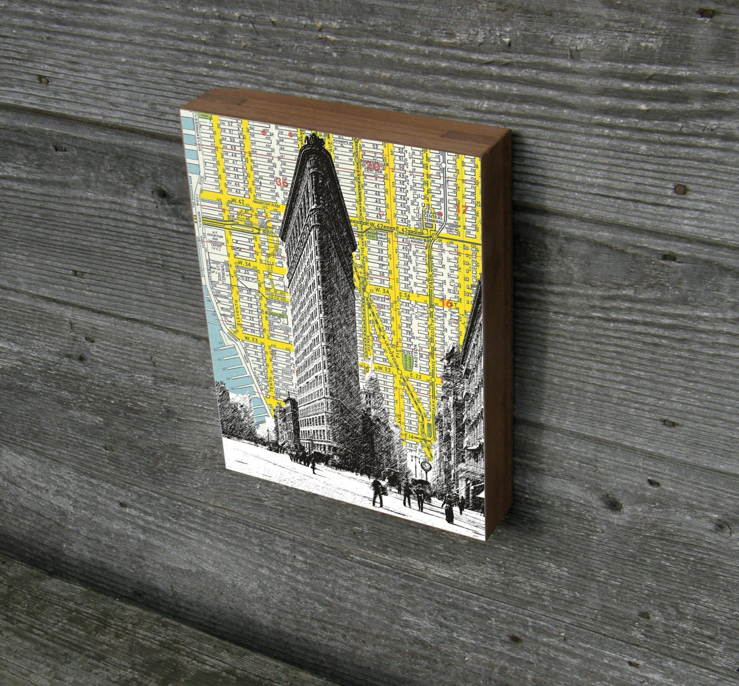 Flatiron Building Wood Art Block Print NYC Map Background