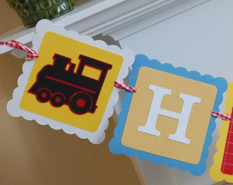 Train Happy Birthday Banner, Train Party, Train Birthday, Train Theme, Choo Choo, Chugga Chugga Red Yellow and Blue