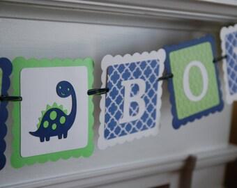 It's A Boy Banner, Baby Shower Banner, Dinosaur Baby Shower, Dinosaur Boy Banner, Navy, Lime, White