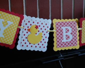 Rubber Duck Birthday Banner, Happy Birthday banner, Rubber Duck Birthday Party, Duck Theme, Red Yellow