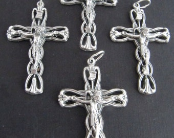 Italian Made Ornate Silver Rosary Crucifixes - set of 4