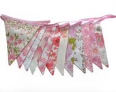 Vintage Bunting - Retro Pink MULTI Floral Flags . Shabby Chic, Party Decoration . HANDMADE . Wall hanging, Parties, Party, High Tea, Wedding