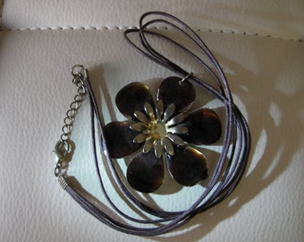 handmade fabric wires & brown flower necklace