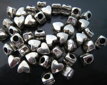Finding - 10 pcs Silver Heart Shape Spacer Metal Beads with Hole ( 9mm x 8mm, inside 3.5mm )
