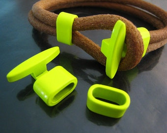 Finding - 1 Set Neon Yellow Metal T-Bar Hook Loop Clasp Buckle Toggle End Cap with Spacer for Leather Cord