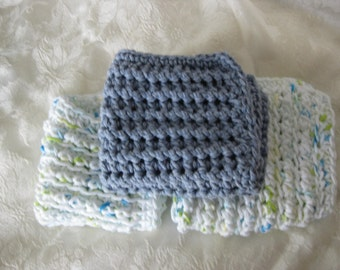 Handmade  crochet cotton dishcloths 3 pieces blue and white  RTS