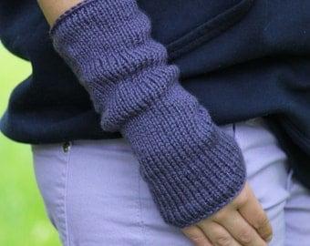 Knitting PATTERN - Fingerless Mittens Knitting Pattern - Easy Knit Arm Warmers Wrist Warmers Pattern - Make 2 Ways - Ladies Teen