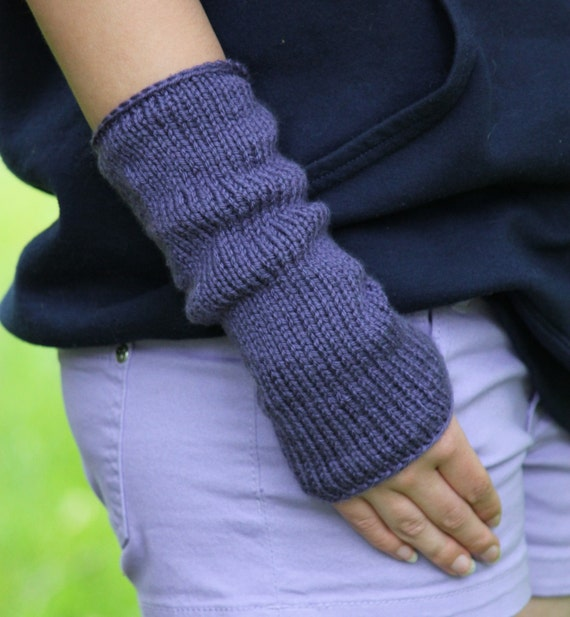 Knit Arm Warmer Pattern : Knitting PATTERN - Fingerless Mittens Knitting Pattern - Easy Knit Arm Warmer...