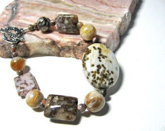 Earthy bracelet, Ocean Jasper with Bamboo Agate and Tiger Jasper, beaded bracelet, gemstones 406
