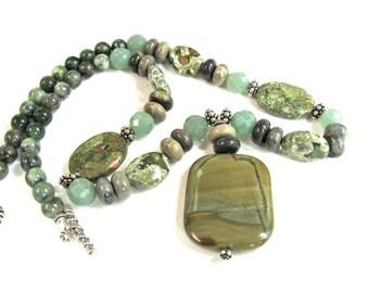 Green beaded necklace, Silver Mist Jasper pendant, green necklace, Rhyolite, Aventurine, beaded necklace, gemstones 049