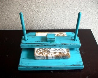 Wooden Hand painted Turquoise Napkin Holder