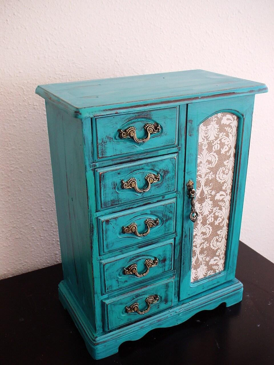Beautiful lake blue hand painted wooden jewelry box