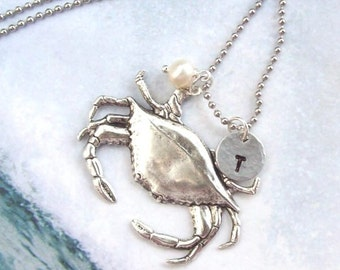 Crab Necklace, Silver Tropical Necklace , Personalized  Necklace, nautical, stainless steel, hypo allergenic, stamped, pearl, spring fashion