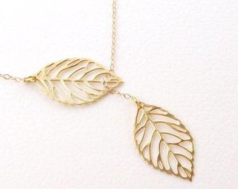 Gold Leaf Necklace, Leaf Lariat Necklace, 14K gold filled, matte, spring fashion, filigree, leaves, minimal, mothers day
