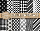 INSTANT DOWNLOAD - Geometric Digital Paper for Personal or Commercial Use - Black and White - 12 Sheets - 300 DPI - 12500