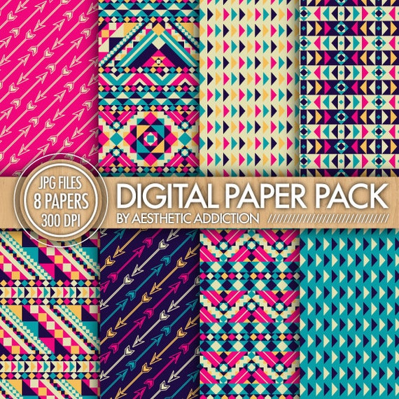 Blue Tribal Wallpapers: INSTANT DOWNLOAD Tribal Aztec Patterns By Aestheticaddiction