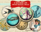 Vintage Nautical 1 inch (25mm) Circle Rounds Digital Collage Sheet - INSTANT Download for Bottle Caps Pendant Jewelry Ocean Sealife