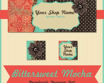 Facebook Banner Set - Pre-made Rustic Floral Design - Bittersweet Mocha - Chocolate, Melon and Turquoise