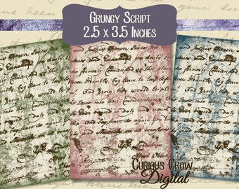 Grunge Script Digital Collage Sheet - 2.5 x 3.5 Inch Images Tags ACEO ATC -  INSTANT Printable Download
