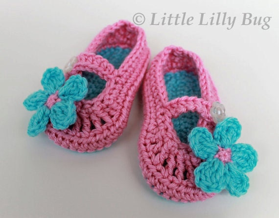 Crocheted Baby Booties, Mary Jane in  Pink and Aqua with Flower, size 6 to 9 months,READY to SHIP