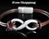 Mens bracelet - Infinity Love Symbol - Silver color - Women - Unisex - Infinity link - Choose Leather - Personalized Color - Magnetic clasp