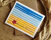 Single Hawaiian Notecard - Mahalo Nui Loa Abstract Beach Scene