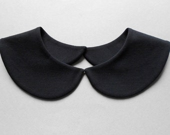 Plain and Simple Black Detachable Handmade Peter Pan Collar Necklace / Col Claudine Amovible