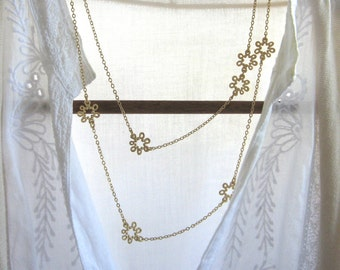 Long gold flower necklace , Layering necklace ,  Flowers layered necklace , Double necklace , Handmade by Adi Yesod