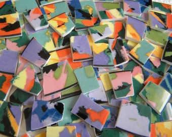 KALEIDOSCOPE of Colors - Abstract Mosaic China Tiles - Designer Plates - 50 Tiles