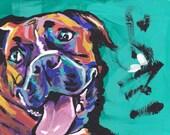 "Boxer portrait giclee print pop art bright colors 8.5x11"" modern Dog art"