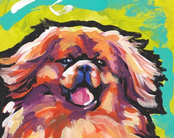 "Tibetan Spaniel portrait  print of pop dog art painting bright colors 8.5x11"" giclee print"