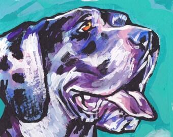 "Harlequin Great Dane art print of pop art dog painting bright colors 8x8"""
