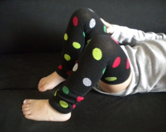 Baby Legwarmers Red,Green, Silver Dots on Black Christmas/Holiday