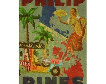 PHILIPPINES 2F- Handmade Leather Wall Hanging - Travel Art