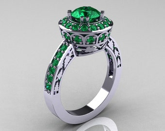 classic 10k white gold 10 carat emerald wedding ring engagement ring r199 10kwgem - Emerald Wedding Ring