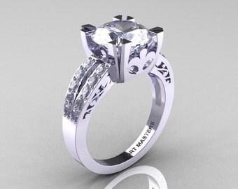 Modern Vintage 14K White Gold 3.0 Carat White Sapphire Diamond Solitaire Ring R102-14KWGDWS