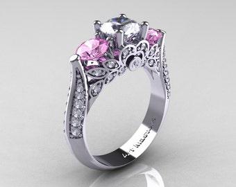 Classic 14K White Gold Three Stone White and Light Pink Topaz Diamond Solitaire Ring R200-14KWGDLPWT