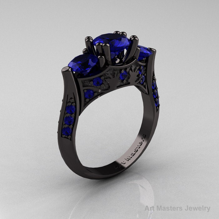 Nature Inspired 14K Black Gold Three Stone Blue Sapphire