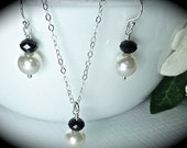 Bridal jewelry - Pearl Earrings and Necklace set - Sterlings Silver - Many colors available - High QUALITY-
