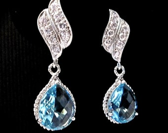 Aquamarine Earrings - Czech glass ~ Teardrops - Beautiful wave ear posts - Something blue ~ Jewelry - Bridal jewelry - March birthstone
