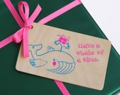 Wooden Neon Gift Tag. Party whale in neon pink and blue.