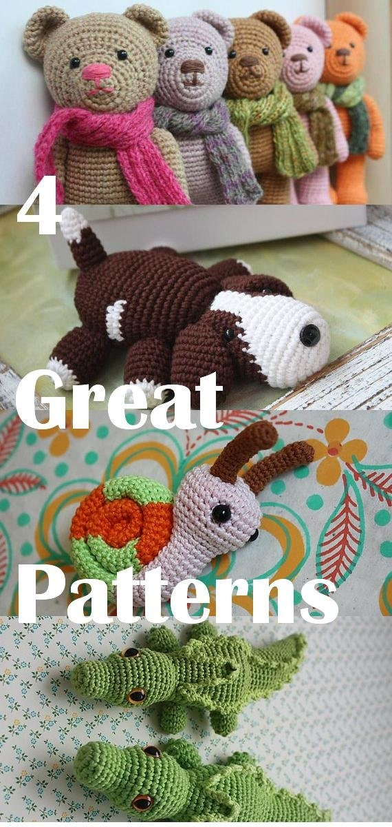 Crochet Patterns Etsy : Amigurumi PATTERNS - Pattern bundle with Amigurumi Snail, Amigurumi ...