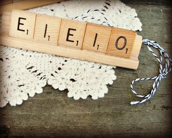 E-I-E-I-O Repurposed Wooden Scrabble Tile Rustic Farm Chicken Hen Christmas Holiday Tree Ornament
