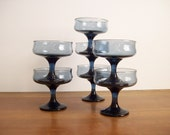 Smoked Navy Dessert Cups, Sherbet Cups, Mid-Century Modern Glassware, Blue Glass