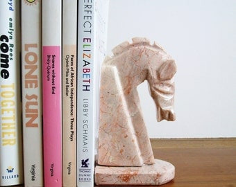 Horse Head Bookend, Figurine, Pink Marble